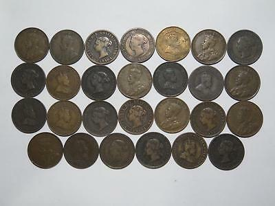 Canada Large One Cent Victoria George Edward Mixed Old World Coin Collection Lot