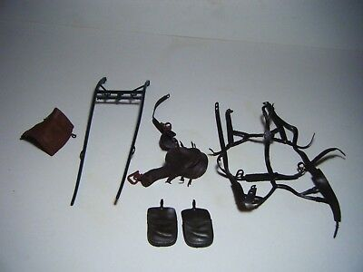 Vintage 1960's Lot Of 6 Marx Johnny West -Harness , Guides , Saddles , Bags