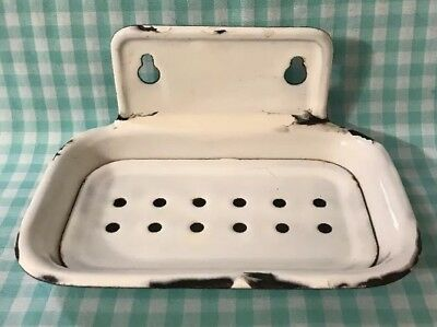 Old Vtg Antique Porcelain Enamel Cast Iron Wall Mount Farmhouse Soap Dish Holder