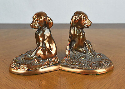 Pair of Vintage Labrador Puppy Metal Bronze Finish Bookends