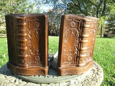 Syroco Wood Bookends Rare Vintage Fancy Scrolled Victorian Antique Book End Set