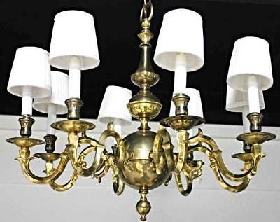 Dutch Colonial Style Brass Eight Arm Chandelier Ceiling Fixture Lamp Lighting