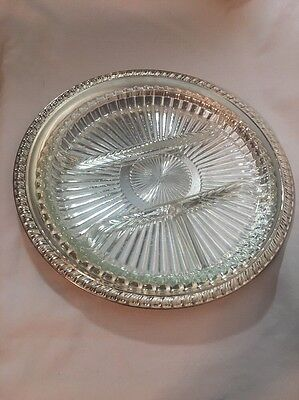 "Vintage  Silverplated 12"" Round Onieda  Serving Tray With Glass Insert Tray"