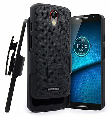 New Black Belt Clip Case Shell Holster + Stand for Motorola Droid Turbo 2 XT1585