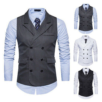 Men Double-Breasted Formal Party Slim Fit Strips Dress Tops Vest Suit Waistcoat
