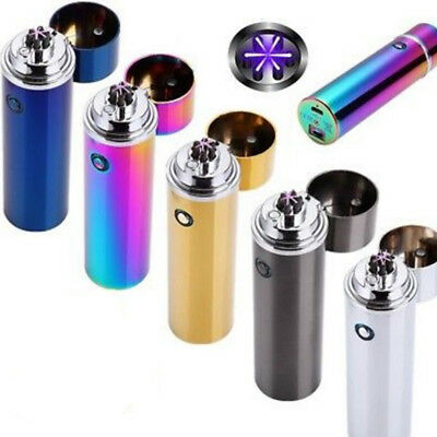 USB Electric Rechargeable Triple Arc 6 Cross Plasma Windproof Flameless Lighter
