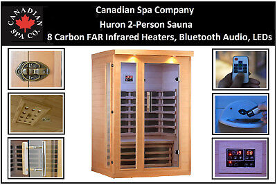 Huron 2-person sauna con 8 CARBONO FAR Infrared calefactore,Bluetooth Audio,LEDS