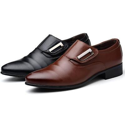 Mens Smart Heel Slip On Shoes Office Wedding Work Formal Party Dress Suit Size A