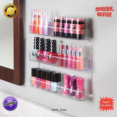 Wall Mount Nail Polish Storage Rack with Shelves for Bathroom/ Bedroom Clear New