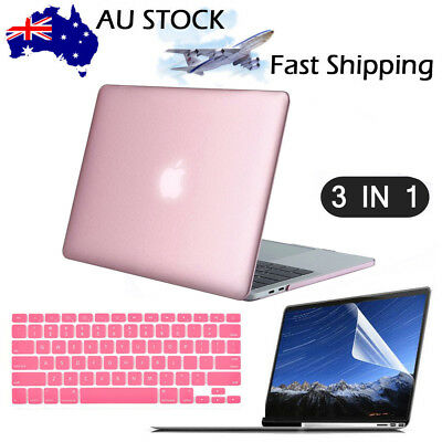 Rose Gold Rubberized Hard Case + KB Cover+LCD Macbook Pro 13/15 Air 11/12 Inch