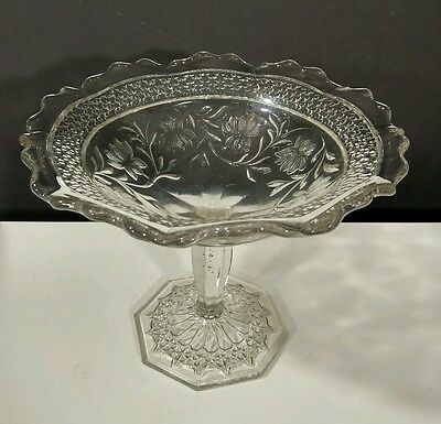 vintage pillar footed standing clear glass candy dish scalloped edge antique EUC