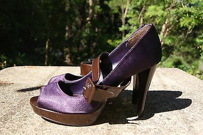 BETTS  Mary Jane Open Toe Platform/ Purple/ Brown Adjustable Straps Size 38/7.5