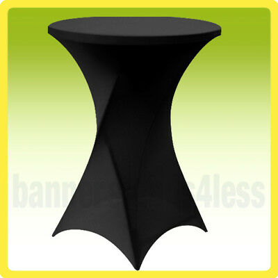 "30"" SPANDEX Cocktail Bar Table Cover Round Tablecloth Stretch Lycra - Black"