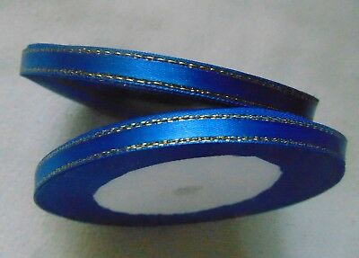 Satin Ribbon with Gold  Edges 6mm Wide 10m