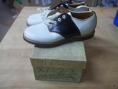 Vintage WHITE AND BLACK BLACK SADDLE OXFORD KIDS SHOE  ORIGINAL BOX NOS SIZE 10