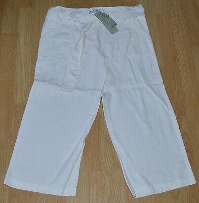 ❤❤ Next white linen mix cropped under bump maternity trousers with tie belt 8 ❤❤
