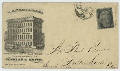 Mr Fancy Cancel 73 ILLUSTRATED AD COVER IRON CITY COLLEGE PITTSBURGH PA 1867