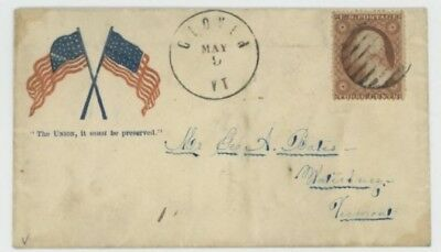 Mr Fancy Cancel 26 CIVIL WAR PATRIOTIC TWO FLAGS THE UNION MUST SHALL CLOVER VT