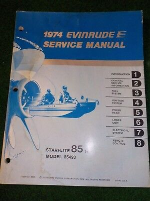 1974 OMC Evinrude Outboard Service Repair Shop Manual 85 HP Starflite 85493