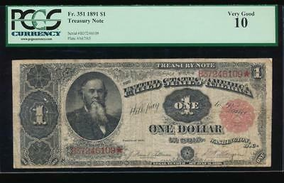 AC Fr 351 1891 $1 Treasury Coin Note STANTON PCGS 10