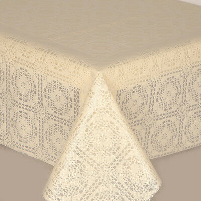 Pvc Table Cloth Crochet Cream Lace Floral Squares Circles Traditional Wipe Able