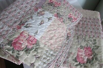 Vintage Collectionbs Shabby Cottage Chic Full/queen Floral Reversable Quilt Set