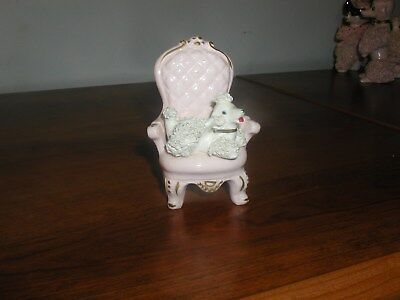 White Spaghetti Poodle In Pink Chair - Looks Great.