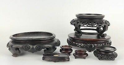 Lot of 7 Fine Antique Chinese Carved Wood Stands