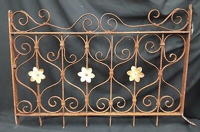 Architectural Salvage Wrought Iron Swirl Scrolls Window Grate Fence Panel
