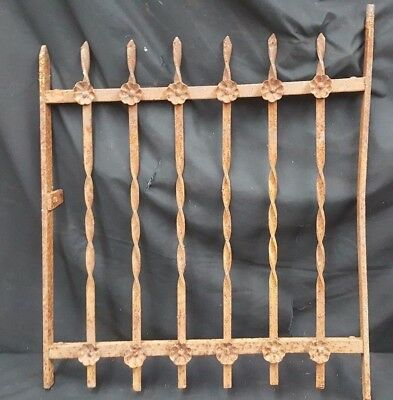 Architectural Salvage Wrought Iron Double Flower Window Grate Fence Panel