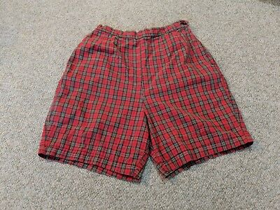 Vintage 50's Plaid HIGH WAIST Pocket Side Zip Rockabilly Pin Up Cotton Shorts 14