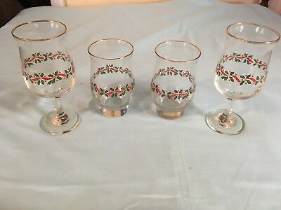 Lot Of 4 Vtg Arby's LIBBY Holiday Water Glasses Stemware Gold Trim
