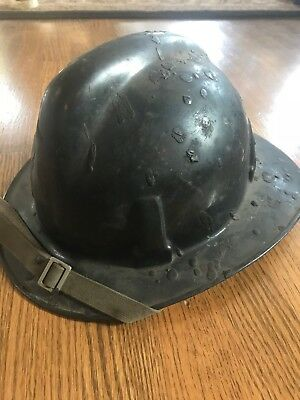 VINTAGE BLACK MSA FIRE HELMET * used in the 80's on Chicago Fire Dept