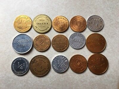 Choose From 15 Varieties! 1/4 Cent Illinois Provisional Tax Tokens