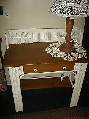 Antique Wicker and Oak Desk with Gallery Letter Holder.8940