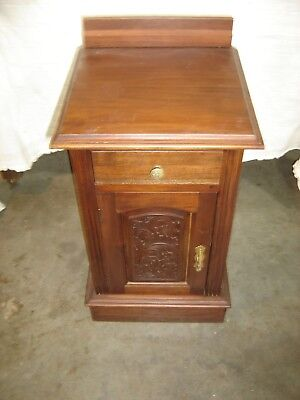 Antique Mahogany Night Stand ~ Raised Panel  One door w/ incised carving  100