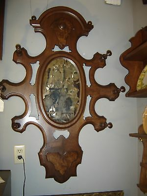 Large Antique Walnut Victorian Hall Mirror with 6 Turned Coat Hooks. 8142