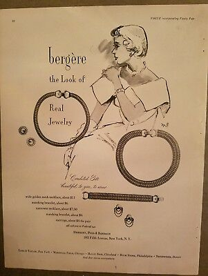 1948 Bergere look of real jewelry mesh necklace bracelet ad