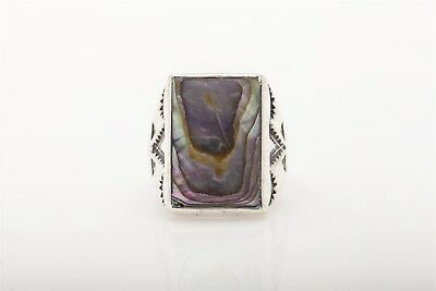 Vintage Native American Indian Made MOP Gem Sterling Silver Mens Ring HEAVY