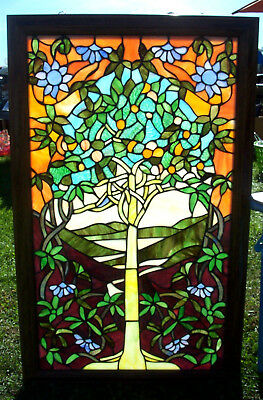 Fabulous Tiny Orange Fruit  Tree Of Life Stained Glass Window Framed In Wood