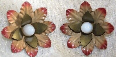 Two Antique Vintage Curtain Tie Back Metal & White Glass Flower Pins