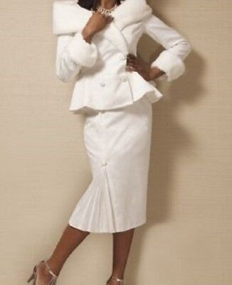 plus sz 22W Fran Skirt Church Suit by Ashro faux fur collar/cuffs new