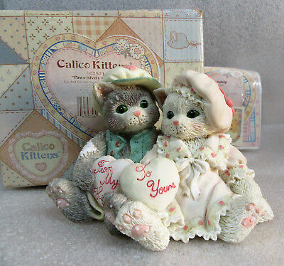 Calico Kittens ~ Paws-itively in Love ~ Cat Kitty Figurine