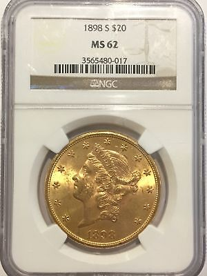 1898-S $20 Liberty Gold Coin Double Eagle NGC Certified MS 62