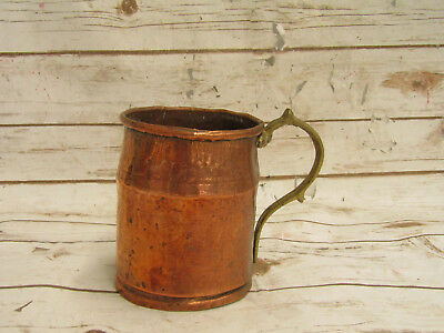 Large Vintage Copper Moscow Mule Mug w. Brass Handle Hand Made