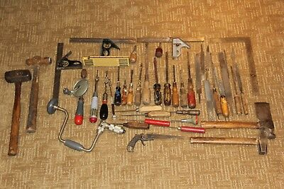 Lot Of 44 Antique And Vintage Hand Tools Wood Handles
