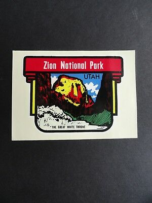 Cool Vintage 60s Water Slide Travel Decal UTAH Zion Nat'l Graphic - Great COLORS