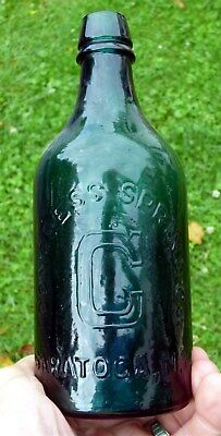 """""""CONGRESS SPRING CO. / C / SARATOGA, N.Y""""Mineral Water Bottle Mint Green Pint"""