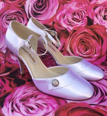 White Satin Bridal Shoes Size UK 6 By Colorful Creations