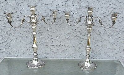 PAIR CHANTILLY DUCHESS by Gorham 3 Light CONVERTIBLE Candlesticks Candelabras